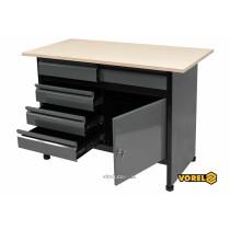 Стол для мастерской VOREL 1160 х 600 х 840 мм 5 ящиков с лакированной жести 0.8-1 мм