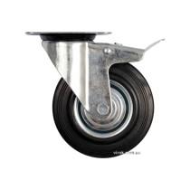 Колесо для тележки с вращающейся опорой и тормозом VOREL Ø100 x 27 x 130 мм 60 кг