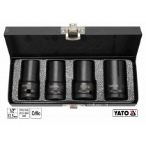 """Торцеві головки ударні для зриву гвинтів YATO: квадрат-1/2"""", L= 55 мм; М17, 18.5, 21.5, 26 мм, 4 шт"""