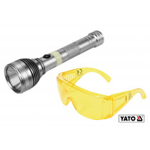Фонарь ультрафиолетовый с очками для проверки банкнот YATO Li-Ion 3.7 В 1.5 Агод 3 Вт