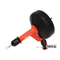 Трос для очистки канализационных труб на бобине YATO 6 мм x 7.6 м со шпинделем для дрели