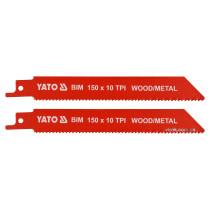 """Полотна по дереву і металу, бі-металеві, до шаблевої пили YATO : l=150 мм, h=1 мм, 10 зубів/1"""", 2 шт"""