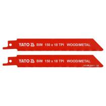 """Полотна по дереву і металу, бі-металеві, до шаблевої пили YATO : l=150 мм, h=1 мм, 18 зубів/1"""", 2 шт"""