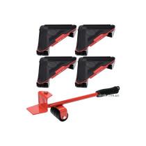 Набір для переміщення меблів YATO : макс. вага- 300 кг, висота- 70 мм, 4 підставки + важіль, 5 елем.