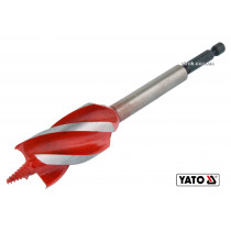 """Сверло по дереву YATO 28 x 165 мм HEX- 1/4"""" HRC 40-45 с 4 режущими кромкам"""