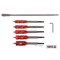 "Набор сверл по дереву YATO 16-25 мм 165 мм HEX-1/4"" с 4 режущими кромками + удлинитель + ключ 7 шт"