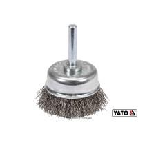 Щетка чашка зачистная из нержавеющей стали для дрели YATO Ø50 мм 4500 об/мин с хвостовиком Ø6 мм