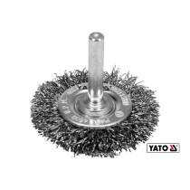 Щетка дисковая зачистная из нержавеющей стали для дрели YATO Ø50 мм 4500 об/мин с хвостовиком Ø6 мм