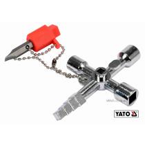 Ключ универсальный для сервисных шкафов YATO с отверточной насадкой с плоским шлицем на цепи