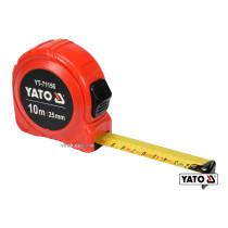 Рулетка YATO 10 м x 25 мм со стальной лентой и нейлоновым покрытием и двойной блокировкой
