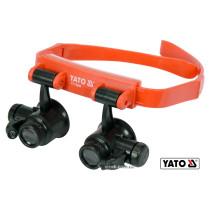 Лупи на голову з підсвіткою YATO 2 LED, 4 пари з кратністю: х10, х15, х20, х25