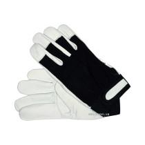 Перчатки рабочие бело-черные YATO хлопок + кожа размер 10