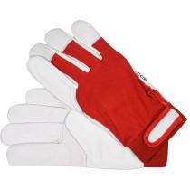 Перчатки рабочие бело-красные YATO, хлопок + кожа, размер 8
