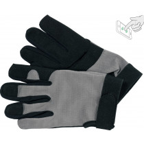Перчатки рабочие черно-серые YATO, для сенсорных экранов, искусственная кожа + хлопковый трикотаж, размер 10