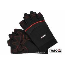 Перчатки рабочие черные с открытыми пальцами YATO искуственная кожа + синтетика размер 10