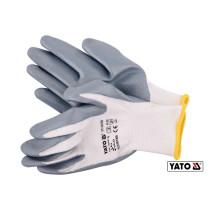 Перчатки рабочие оливостойкие из нейлона и нитрила YATO размер 9
