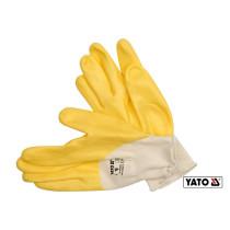 Перчатки рабочие трикотажные покрыты нейлоном желтые YATO размер 10