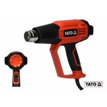 Фен технический YATO 2 кВт 50-600° 250-500 л/мин 7 режимов температуры + 5 насадки