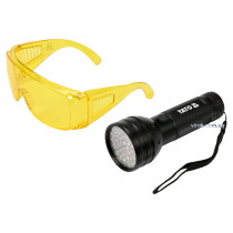 Фонарь ультрафиолетовый с очками для определения протекания жидкостей и проверки подлинности банкнот YATO 51 LED 3 x AA