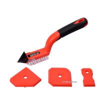 Шпателя для силикона и щетка с металлическим скребком для фуговки YATO 4 шт